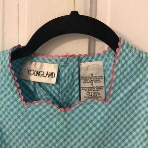 Youngland Dresses - Lt blue gingham seersucker sundress w/watermelons